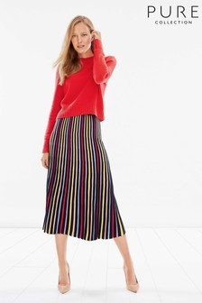 Pure Collection Blue Knitted Pleat Skirt