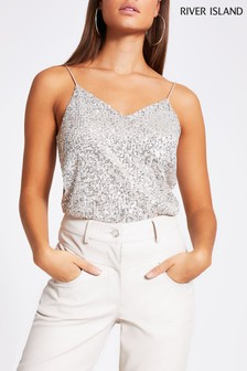 River Island Silver Sleeveless Sequin Cami Top