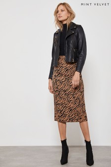 Mint Velvet Animal Zebra Jacquard Pencil Skirt