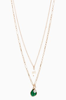 Pearl Effect Layered Necklace