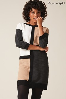 Phase Eight Neutral Casle Colourblock Dress