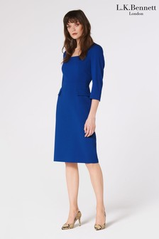 L.K.Bennett Blue Ivor Crepe Dress With Wrap Neckline