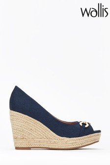 Wallis Blue Circle Trim Peeptoe Wedges