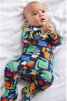 GOTS Organic Dinosaur Zip Sleepsuit (0mths-2yrs)