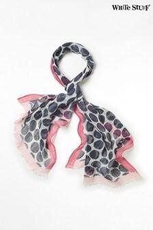 White Stuff Pink Steffie Printed Linen Scarf