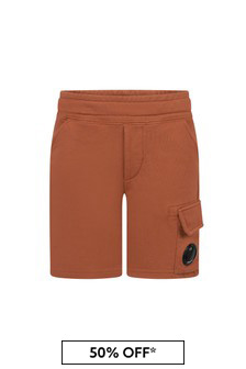 CP Company Boys Orange Cotton Shorts