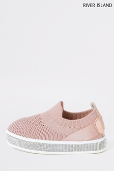 River Island Pink Knitted Channel Plimsolls