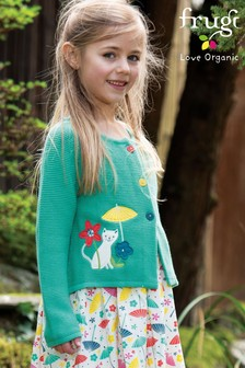 Frugi GOTS Organic Knitted Cardigan With Cat Appliqué