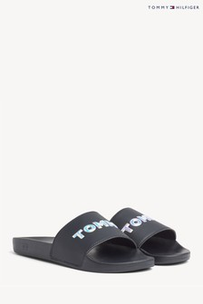 Tommy Hilfiger Blue Iridescent Pool Sliders