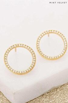 Mint Velvet Gold Tone Circle Sparkle Studs