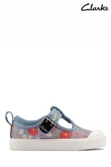 Clarks Blue Floral City Dance T Canvas Shoes