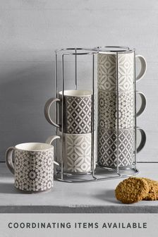 Geo Set of 6 Stacking Mugs Embossed
