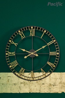 Antique Bronze Gold Metal Round Wall Clock by Pacific Lifestyle