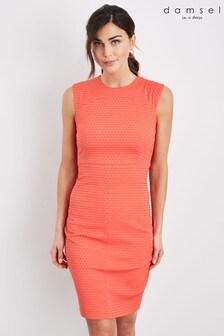 Damsel In A Dress Orange Romano Textured Dress