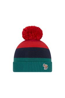 Boys Red Striped Cotton & Cahmere Hat