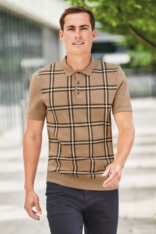Check Cotton Knitted Polo