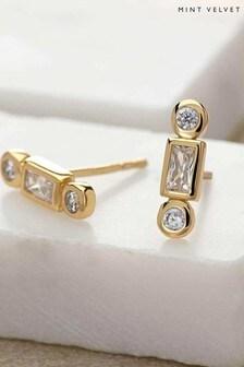 Mint Velvet Gold Tone Baguette Earrings