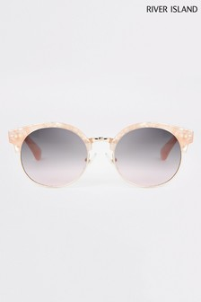 River Island Pink Rose Quartz Retro Round Sunglasses