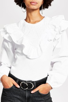 River Island White Long Sleeve Frill Sleeve Poplin Top