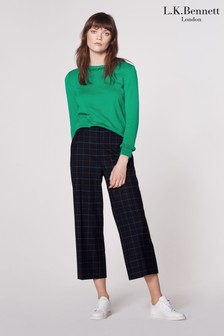 L.K.Bennett Blue Leslie Check Print Trousers