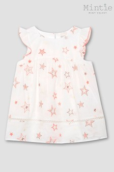 Mintie by Mint Velvet Cream Embroidered Star Top