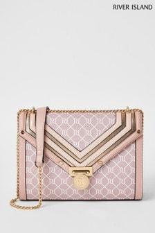 River Island Pink Monogram Med Folio Bag