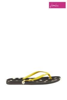 Joules Black Printed Flip Flops