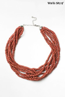 White Stuff Pink Plaited Bead Necklace