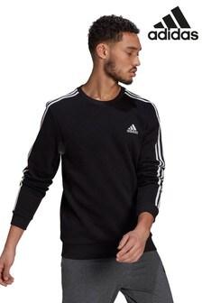 adidas Fleece 3 Stripe Crew Sweater