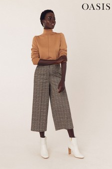 Oasis Natural Chocolate Box Crop Wide Leg Trousers