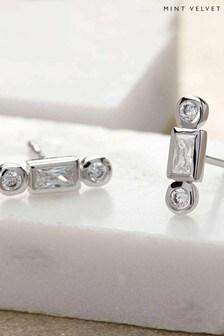 Mint Velvet Silver Tone Baguette Earrings