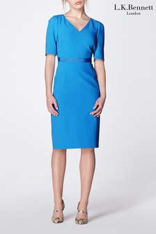L.K.Bennett Blue Isla V-Neck Fitted Dress