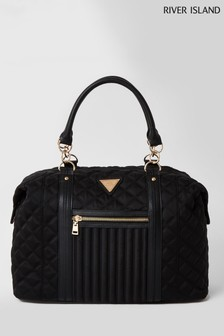 River Island Black Zip Front Quilted Weekend Bag