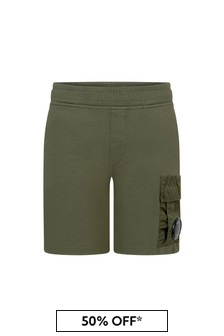 CP Company Boys Khaki Cotton Shorts