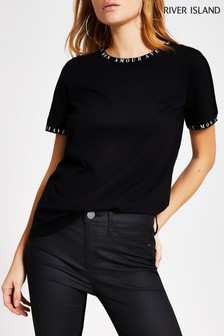 River Island Black Amour Neck Print T-Shirt
