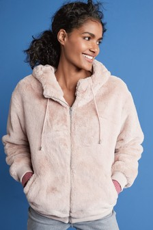 Zip Through Faux Fur Hoody