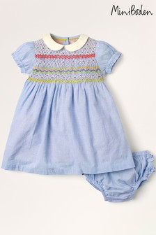 Mini Boden Blue Smocked Occasion Dress