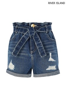River Island Blue Mid Wash Rip Paperbag Shorts