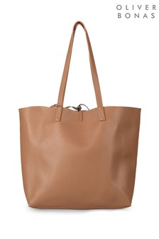 Oliver Bonas Bella Tan Metallic Reversible Tote Bag