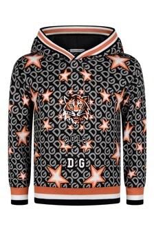 Boys Black Cotton Tiger Print Hoody