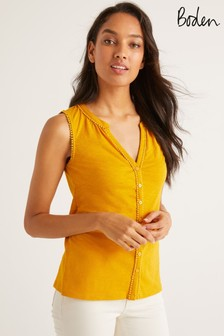 Boden Yellow Dara Pompom Jersey Vest