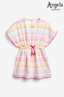 Angels by Accessorize White Rainbow Stripe Embroidered Kaftan