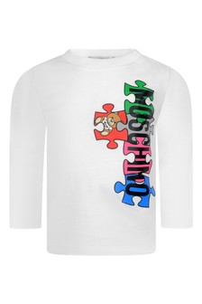 Baby White Cotton Long Sleeve Jigsaw T-Shirt