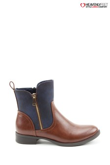 Heavenly Feet Petra Brandy/Navy Ankle Boots