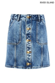 River Island Blue Medium Button Through Denim Skirt
