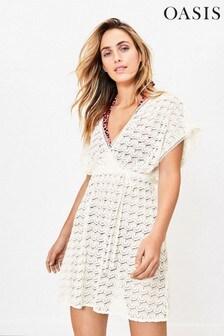Oasis White Crochet Look Wrap Kaftan