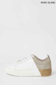 River Island Gold Two Part Sliced Lace-Up Trainers