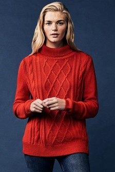 Crew Clothing Red Cable Roll Neck Jumper