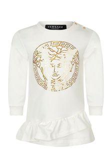 Baby Girls Ivory Cotton Logo Dress