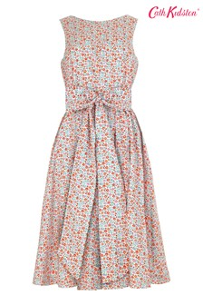 Cath Kidston® Cream Ashbourne Ditsy Tie Waist Dress